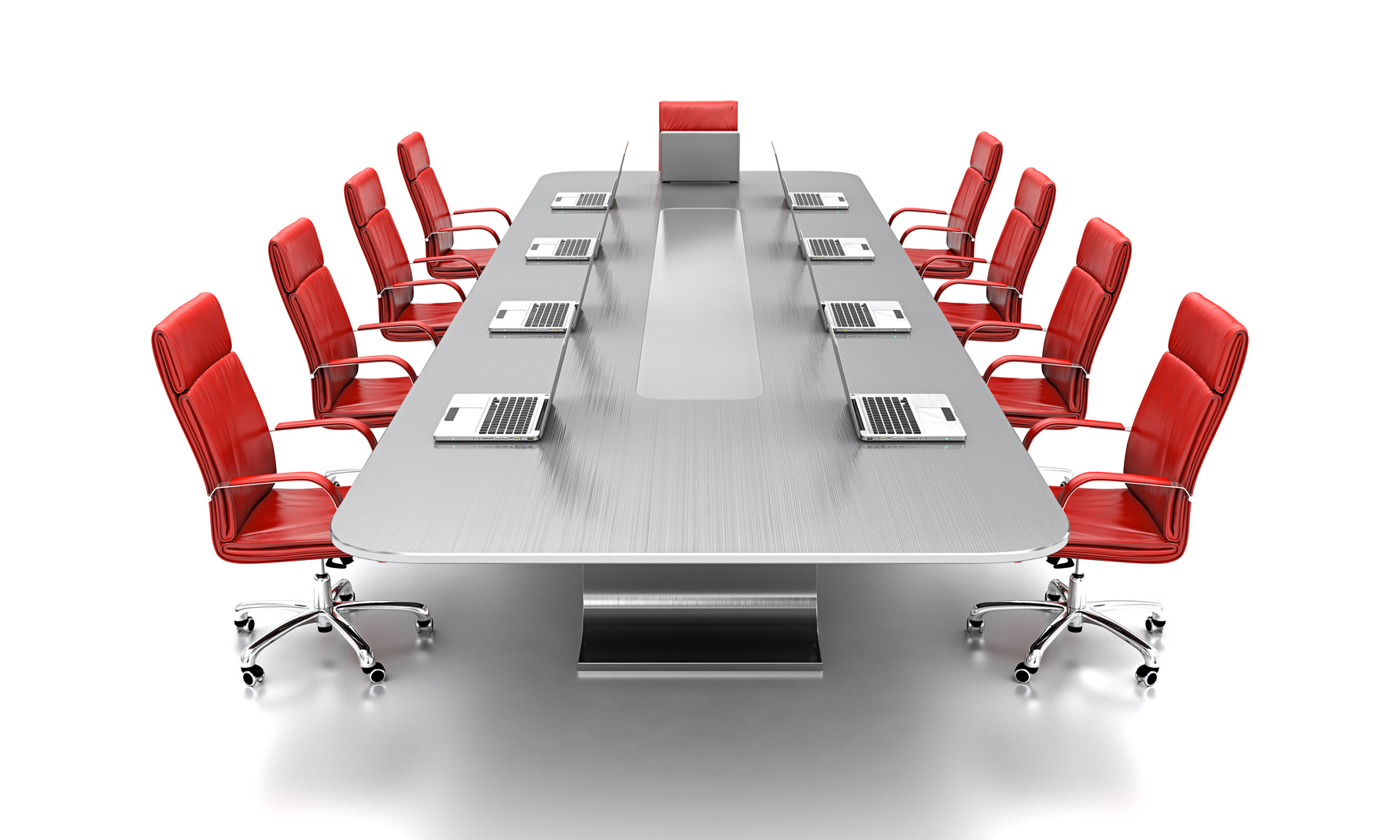 3D render of conference table with red leather chairs.